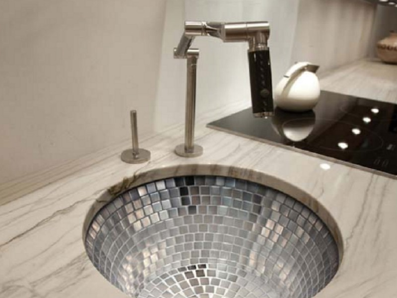 Linkasink Bar-Prep Sink - V042 - Round Stainless Steel Mosaic