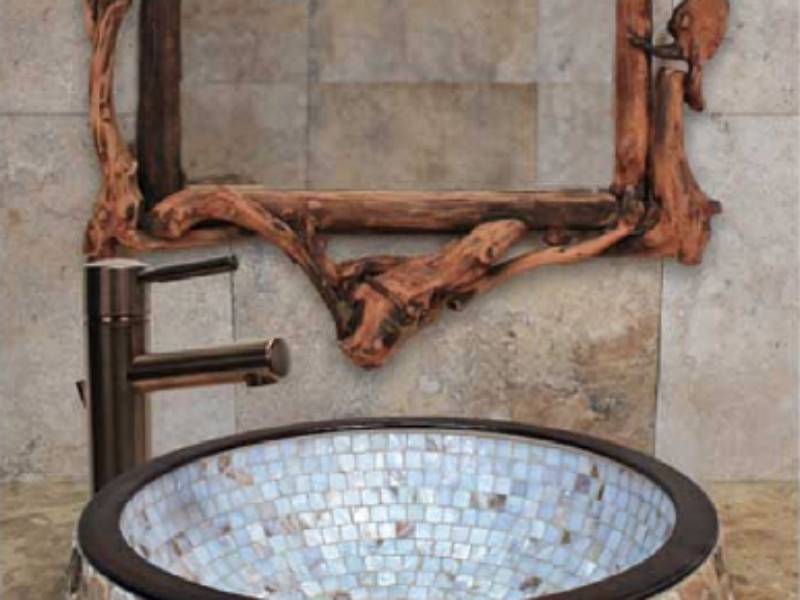 Linkasink Bathroom Sink - CM03 - Bronze Semi Recessed Mosaic Mother of Pearl
