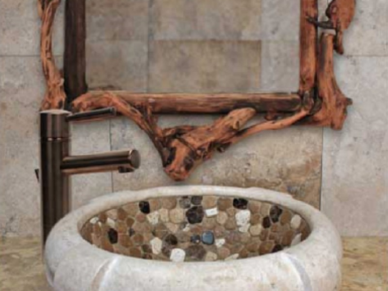 Linkasink Bathroom Sink - MC02 -Marble Tuscany Bowl with Mosaic
