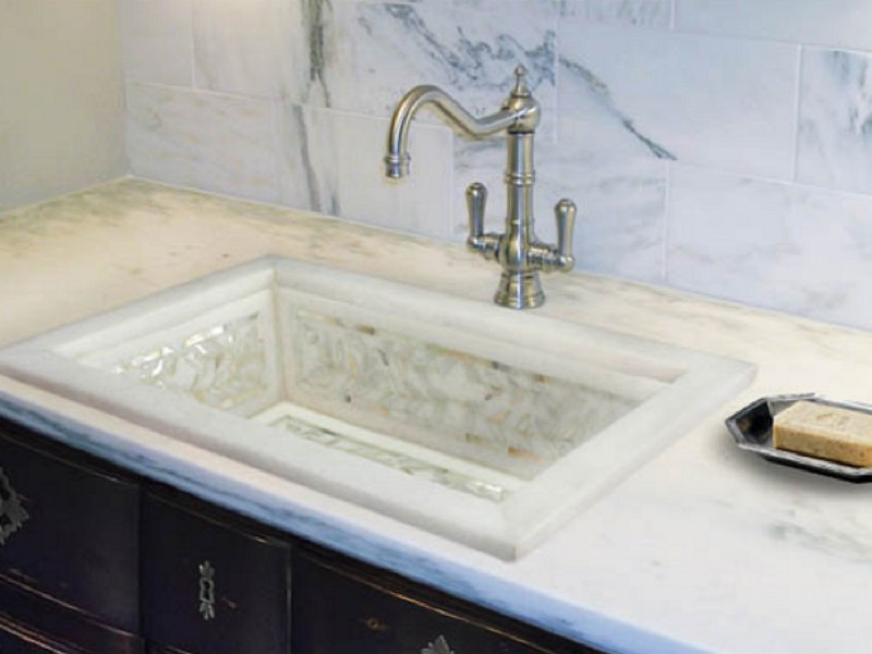 Linkasink Bathroom Sink - MI01 - Drop In White Marble Floral Mother of Pearl Inlay
