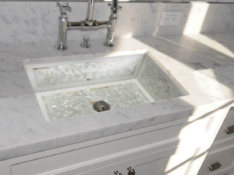 Linkasink Bathroom sink - MI02 - Undermount White Marble Mother Pearl Inlay